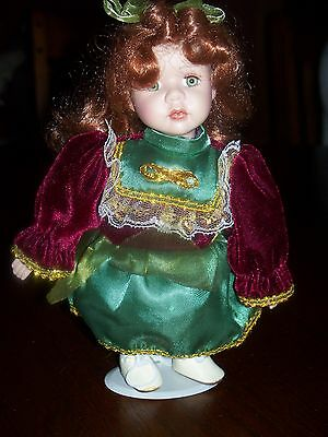 PORCELAIN DOLL w/STAND 8""