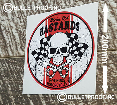 """Mean Old Bastards Decal is 5/"""" x 5/"""" in size"""