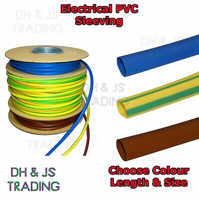 Electrical PVC Sleeving Earth Brown & Blue 2mm 3mm 4mm Tubing Wire Cable