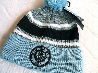 MANCHESTER CITY OFFICIAL '47 Brand FOOTBALL BOBBLE BEANIE HAT OSFA Pompom Tag