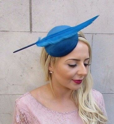 Teal Blue Feather Fascinator Pillbox Headband Hat Headpiece Races Wedding 4146