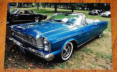 Photo Blue 1965 Ford Galaxie 500 Convertible In Montreal Canada 2003 - Vintage