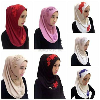 US Muslim Kids Girls Embroidery Floral Hijab Caps Scarf Islamic Hijab Shawls Hat