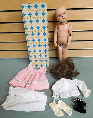 "Antique 1911 SCHOENHUT 16"" Jointed Wooden Doll COMPLETE with Accessories"