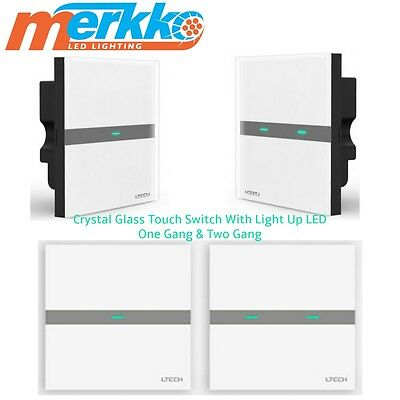 LED touch Light Glass Panel Wall Switch Luxury Crystal switches 1/2 Way Gang