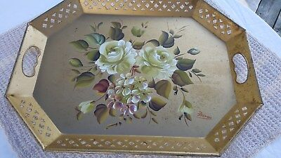 Vintage Metal Toleware Nashco Serving Decorative Tray Gold White Roses Large 20""