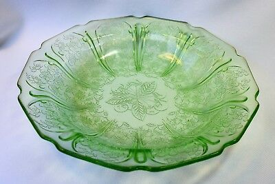 Vintage Jeannette Cherry Blossom Green Depression Glass Low Soup Bowl 8 Inch