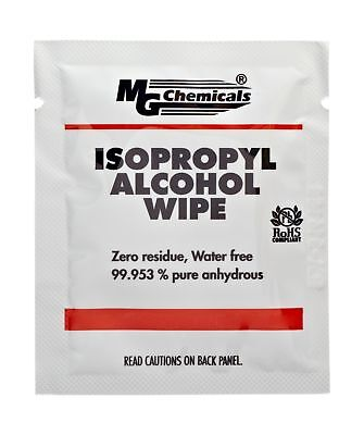 """MG Chemicals 99.9% Isopropyl Alcohol Wipe 6"""" Length x 5"""" Width (Bag of 50)"""