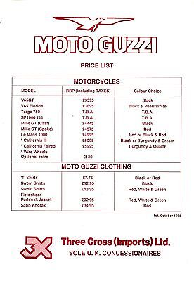 Moto Guzzi Motorcycles Price List Leaflet 1 October 1988 29699