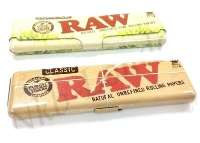 RAW Authentic Rolling Paper King Size Case Holder Tin -Classic or Organic UK P&P