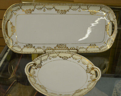 Antique Nippon Bread and Sweets Tray Lot of 2 Gold Accents