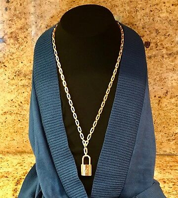 Authentic vintage Louis Vuitton lock with solid brass chain necklace