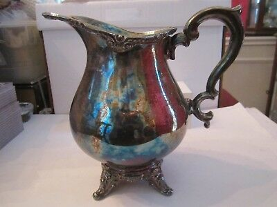 Antique Silver Plated Water Pitcher - English Silver Manufacturing Corp - 9 1/2""