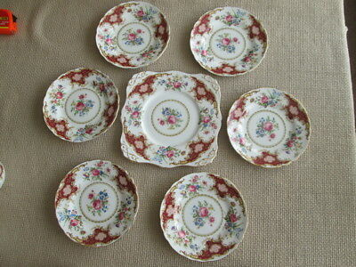 "Tuscan Windsor Sandwich / Cake Set Plate 9"" Wide &  Set Of 6  Plates 7"" Wide"