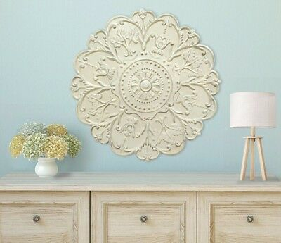 Large Decorative Distressed Shabby Victorian Scrolling Medallion Wall Art Plaque