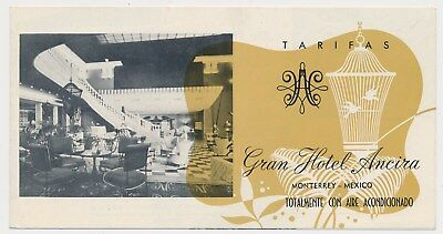 GRAND  HOTEL ANCIRA Vintage Travel Brochure MEXICO MONTERREY 60's