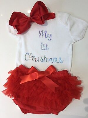 Baby Girls My 1st First Christmas Outfit Tutu Knickers & Bow Photo Shoot Prop