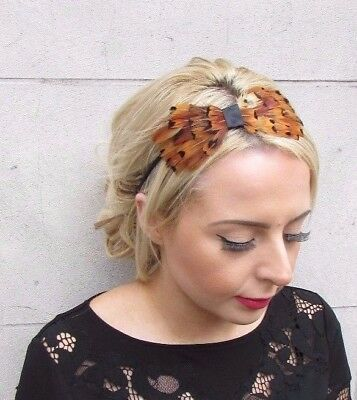 Brown Black Pheasant Feather Fascinator Headband Races Hair Headpiece Vtg 4169