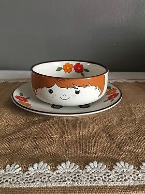 Interpur 1970s Childrens Bowl and Plate Boy