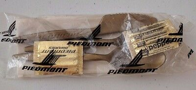 Piedmont Airlines gold plastic silverware packets - set of 5 packs