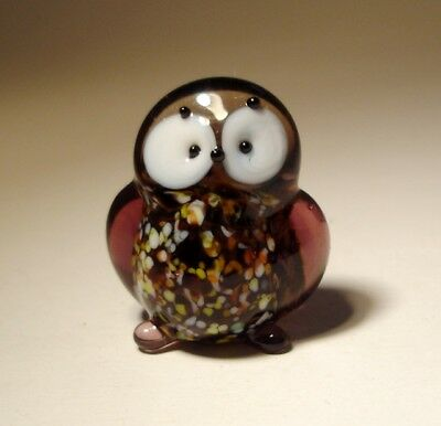 "Blown Glass Figurine ""Murano"" Small Brown Bird OWL with White Eyes"