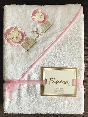FINERA White / Pink Hooded Baby Toddler Towel LIONS 80x80 cm - Great Gift