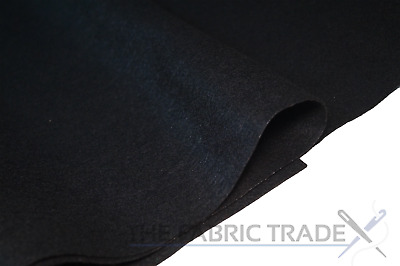 Black Craft Felt Fabric Material - 100% Acrylic - 2mm Thick - 150cm Wide