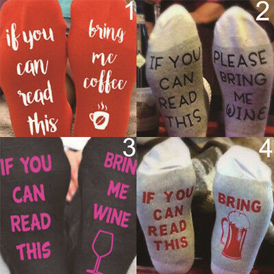 "Womens Mens Socks ""If You Can Read This Bring Me A Glass Of Wine"" Letter SocksZP"