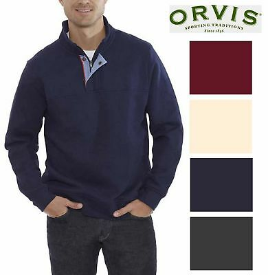 Orvis Sueded Fleece Signature Pullover Sweatshirt 1/4 Zip Sweater Mock Collar
