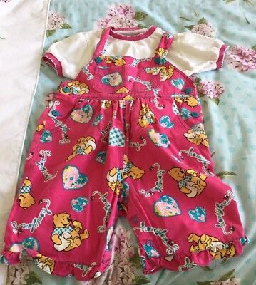 vintage Marks child's & Spencer winnie the pooh romper set  pink fit age 2-3yr