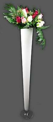 Set Of 10 Cone Glass Vase  White Colour   H-100 cm