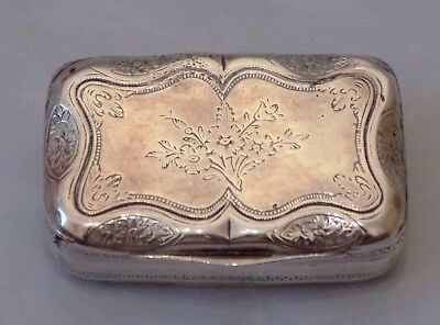 Antique Continental Stamp White Metal / Silver Colour Engraved Flower Snuff Box