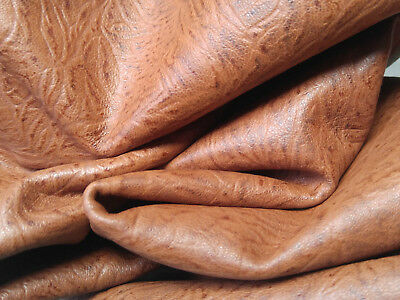 tan -- EMBOSSED TAN SHEEP SKIN HIDE LEATHER   / S1