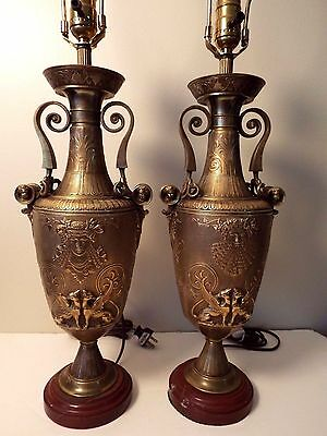 Pair Of Solid Bronze French Egyptian Revival Era Lamps