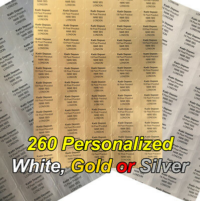 260 Personalized White, Gold or Silver  Printed Sticky Address Labels Stickers
