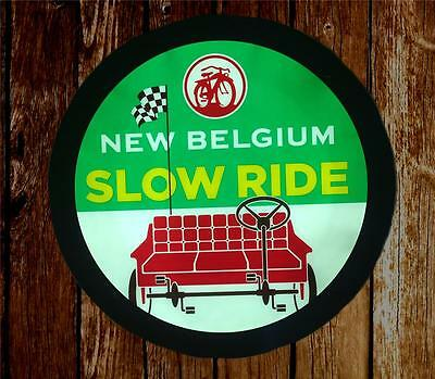 FAT TIRE Slow Ride NEW BELGIUM BREWING LED LIGHTED Electric WALL Bar SIGN