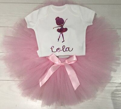 Girls Baby Ballet Tutu Skirt Outfit & Personalised T-Shirt Dance 1st Birthday