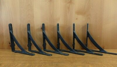 "6 LARGE BROWN ANTIQUE-STYLE 8"" SHELF BRACKETS CAST IRON rustic garden SINGLE BAR"