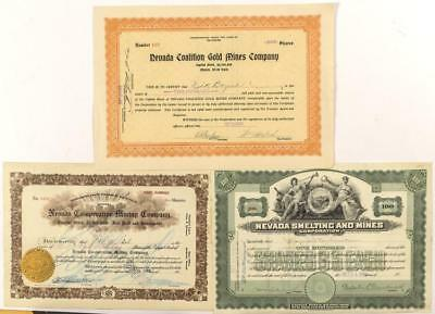 Three Different Nevada Mining Stock Certificates Lot 1587