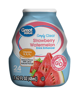 New Sealed Great Value Strawberry Watermelon Drink Enhancer 1.62 Oz Vitamins B