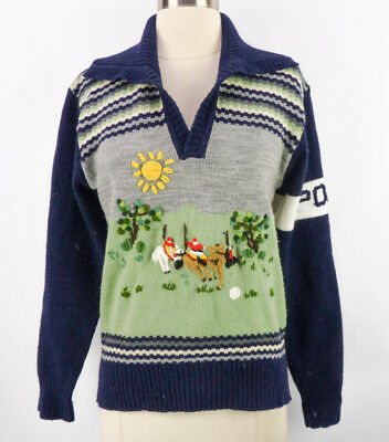 Vintage 70s Novelty Space Dye Polo Horses Equestrian Jumper Sweater M