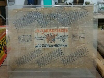 Very LARGE 3 Musketeers Vintage Antique Candy Wrapper 1920s 1930s 5 cents
