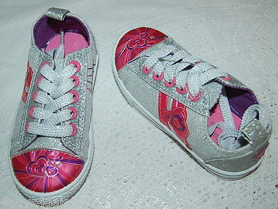 TODDLER GIRL SHOES Canvas Sneakers SILVER GLITTER Pink Purple HEARTS Lace Size 7