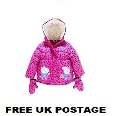 Peppa Pig Pink Puffa Coat Hooded Winter Padded Fleece With Removable Mittens