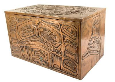 Haida Embossed Copper Chest Lot 2229