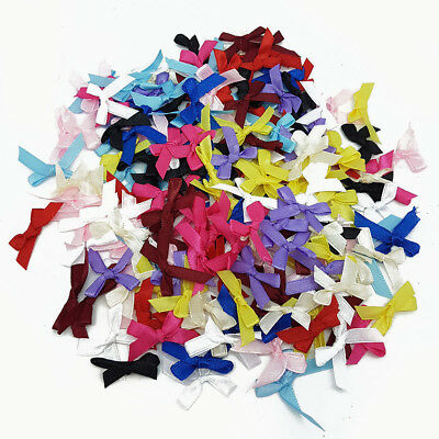 100 Pk Bow Satin 3cm Wide Ribbon Pre-Tied Bows Craft Scrapbooking All Colours UK