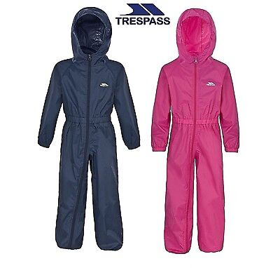 Trespass Button All In One Waterproof Puddle Rain Suit Babies Toddler Boys Girls