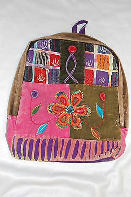 PURPLE Back PATCHWORK Hobo BACKPACK Embroidered FLOWERS Girls PINK Hip