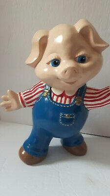 "Vintage painted ceramic pig 10"" large  stamped Care Inc. 1979 reat condition!"