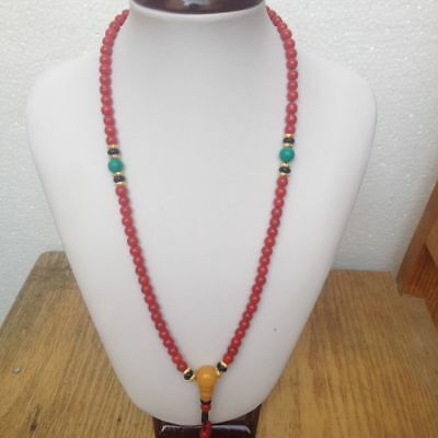 tibet tibetan red coral buddhist buddha worry prayer bead mala bracelet